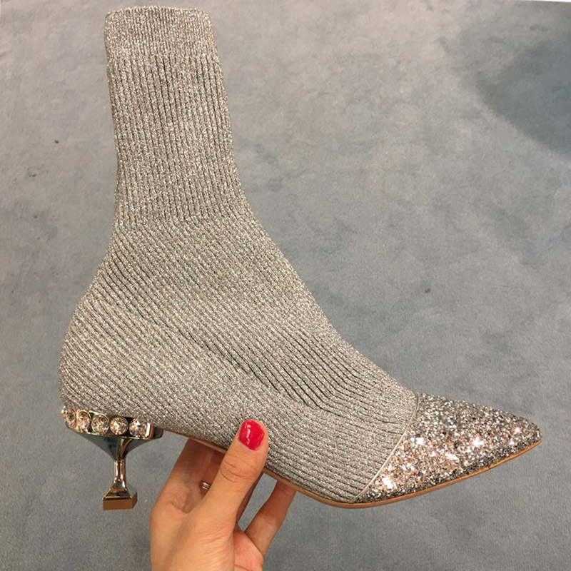 Silver Stitching Knitted boot Wool Drill With Sharp Pointed Cat And Sequins Boots Socks fashion women shoes  Ankle BootsSilver Stitching Knitted boot Wool Drill With Sharp Pointed Cat And Sequins Boots Socks fashion women shoes  Ankle Boots