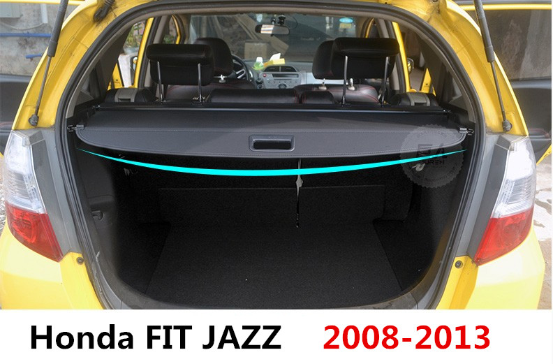 Car Rear Trunk Security Shield Cargo Cover For Honda FIT JAZZ 2008.09.10.11.2012.2013 High Qualit Black Beige Auto Accessories car rear trunk security shield shade cargo cover for toyota highlander 2009 2010 2011 2012 2013 2014 2015 2016 2017 black beige