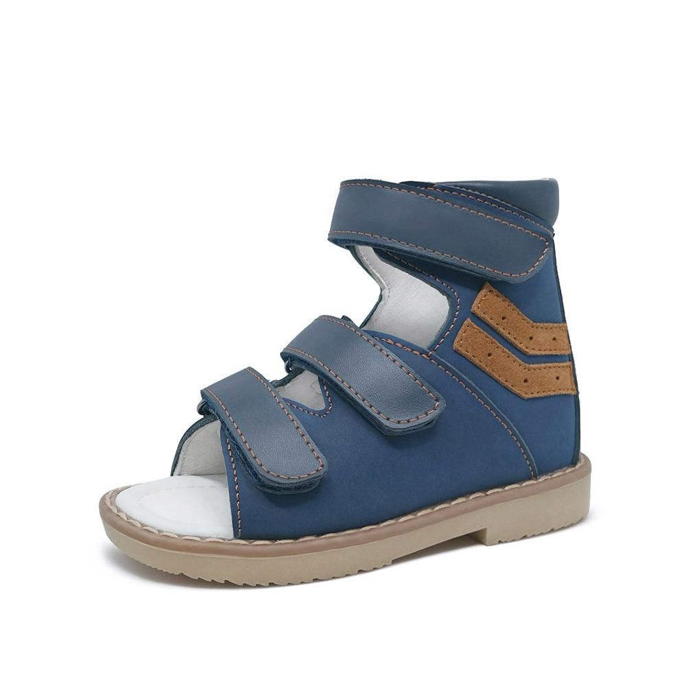 Детские ортопедические сандалии из натуральной кожи с супинатором арки для мальчиков и девочек, классная обувь с высоким берцем для детей