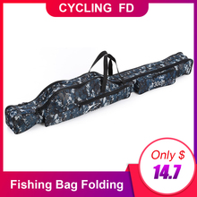 Portable Fishing Bag Folding Rod Canvas Pole Tools Storage Gear Tackle