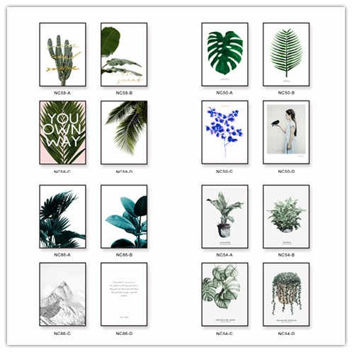 Nordic Green Plant Leaves Wall canvas painting posters prints wall art pictures for living room Modern interior no frame