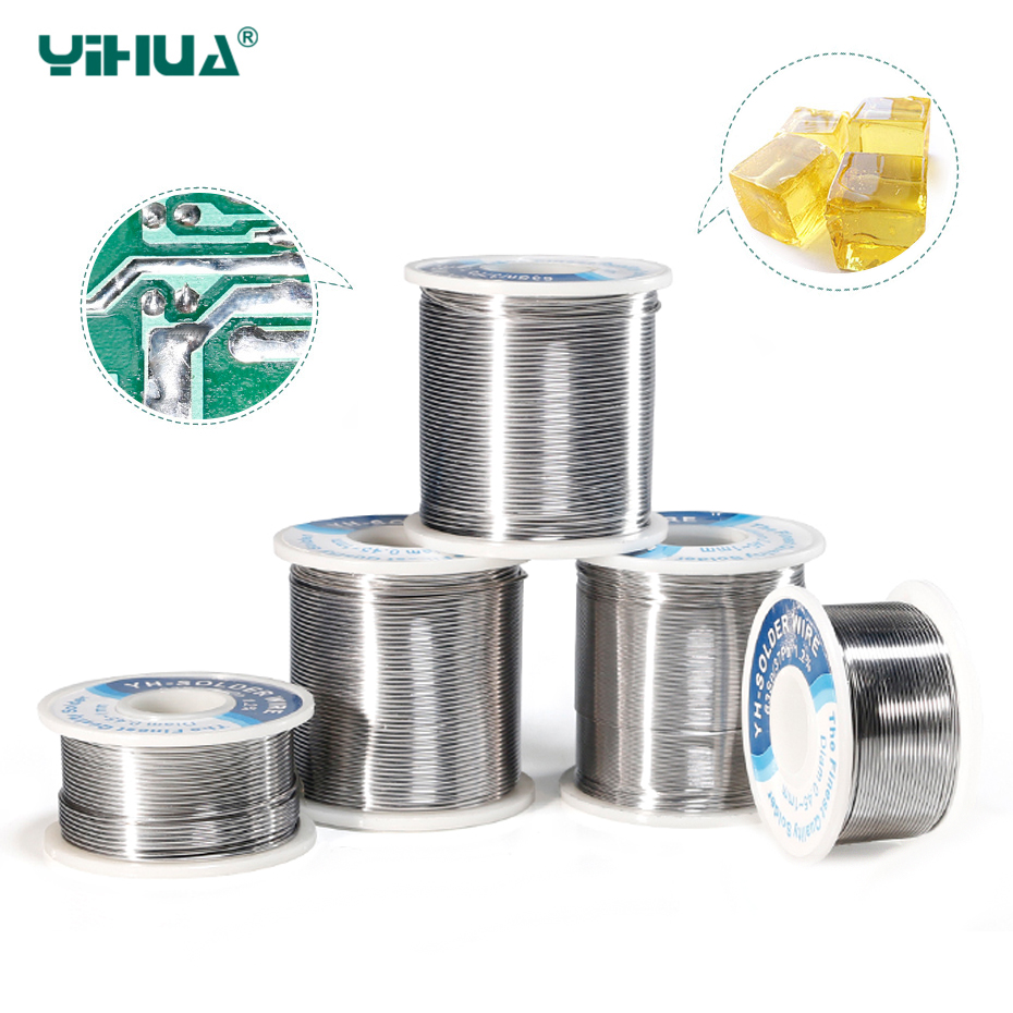 YIHUA High Quality Solder Wire Roll Rosin Core Tin Lead 0.4 0.5 0.6 0.8 1mm Soldering Tin Wires With Flux Welding Iron Wire Reel
