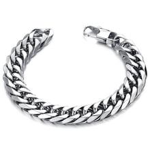 NIBA Simple Punk Design Man Link Chain Bracelets Fashion Stainless Steel Charm Men Jewelry