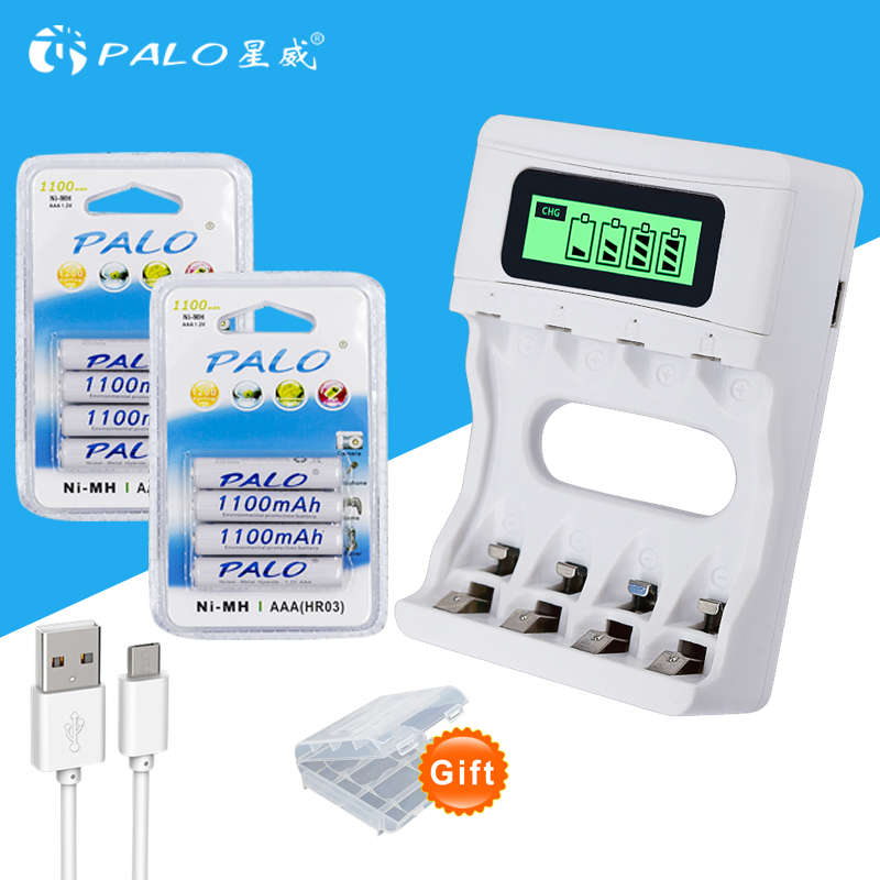 Intelligence 4 Slots LCD display battery Charger for AA / AAA Battery + 8pcs AAA 1100mah nimh rechargeable batteries