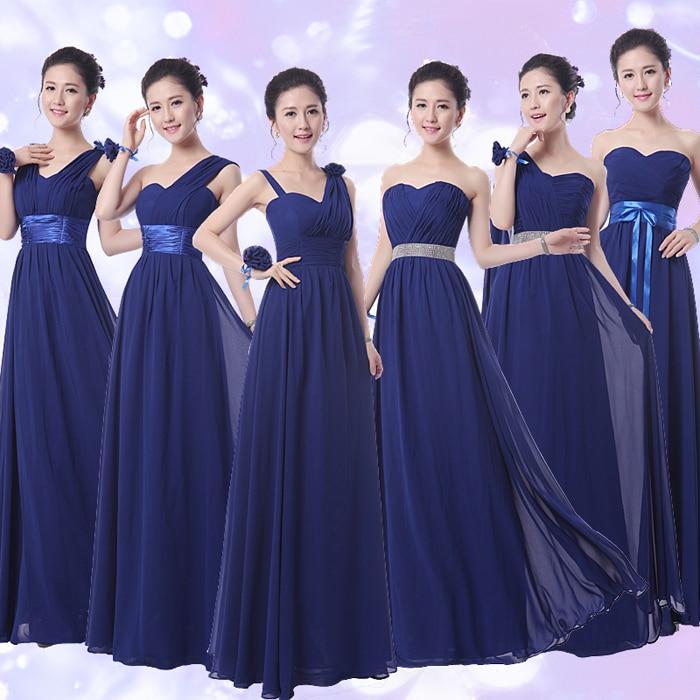 Tasuta saatmine 2016 kuuma kullakesega Olkaimeton A-korruspikkusega tume titaanist sinine Sifonki pikkade pruutneitsi kleidid
