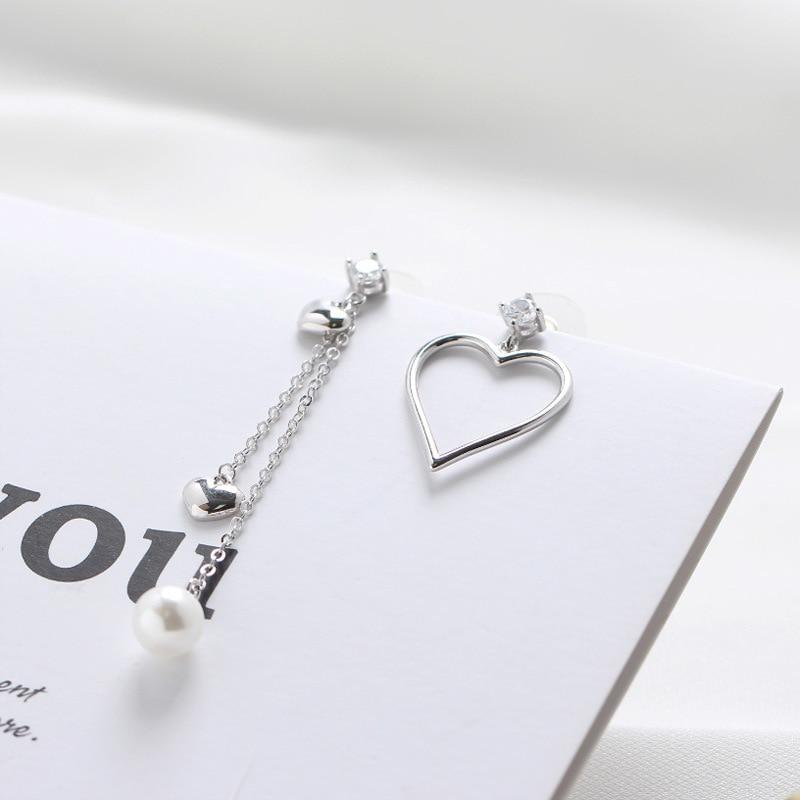 SHANICE 100% 925 Sterling Silver jewellry Pearl asymmetric love heart tassel cubic zirconia stud Earrings For Women Jewelry