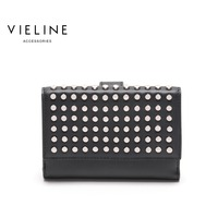 Vieline женские Натуральная кожа заклепки день Муфты сумка, натуральная кожа леди сцепления Сумки, Леди Настоящее кожаная сумка, бесплатная до
