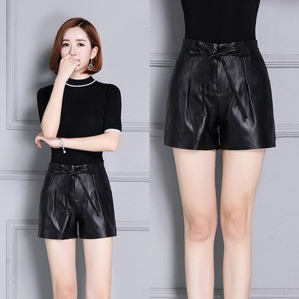 2019 New High Waist Slim Sheepskin Shorts KS14