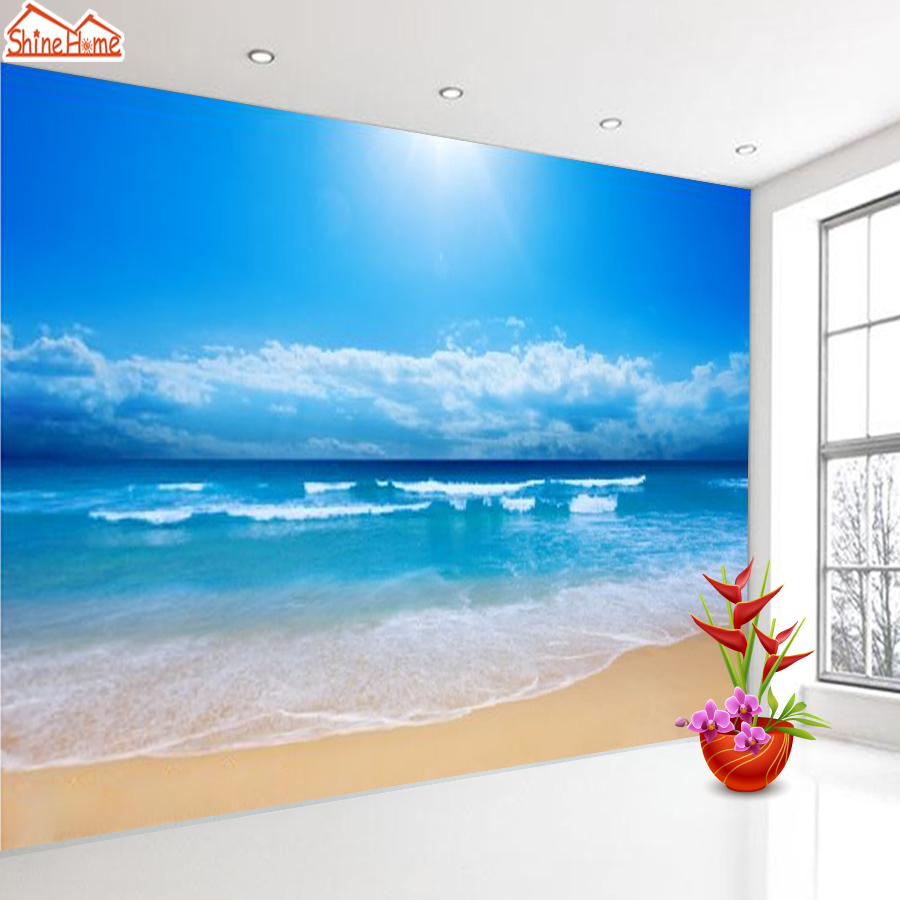 Us 132 45 Offshinehome Large Custom 3d Picture Wallpaper Sunshine Sea Beach Wallpapers For 3 D Living Room Sofa Bedroom Tv Wall Paper Art In