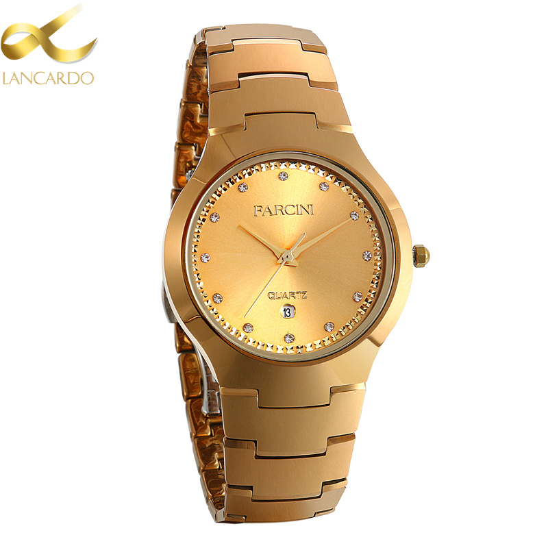 Lancardo Tungsten Steel Watches Men Luxury Fashion Business Men Gold Watch Quartz Waterproof Women Crystal Calendar Watches guanqin fashion women watch gold silver quartz watches waterproof tungsten steel watch women business bracelet gq30018 b