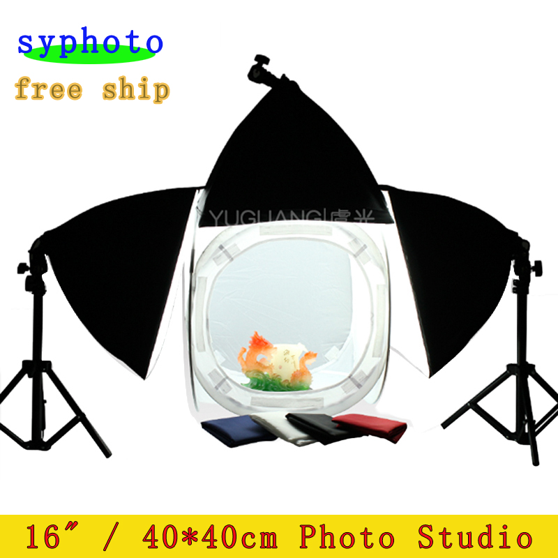 40x40cm Softbox Photo Studio Soft Box 3Pcs Light Tent with 4 Colors Background 75cm Light Stand 2PCS Photography Lamp Kit