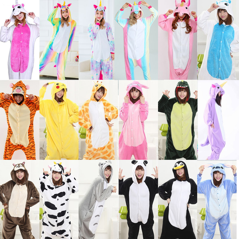 2018 Winter unicorn Pajama sets Women pijama unicornio animal totoro for adults Animal Pajamas Cartoon pyjama Sleepwear cartoon animal women watch