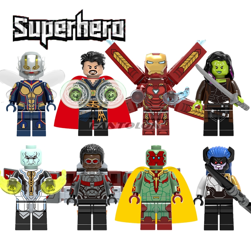 2018 Super Heroes Action Figure Doctor Strange Gamora  Ebony Maw Proxima Midnight Wasp Iron Man Vision Building Block Toys X0187