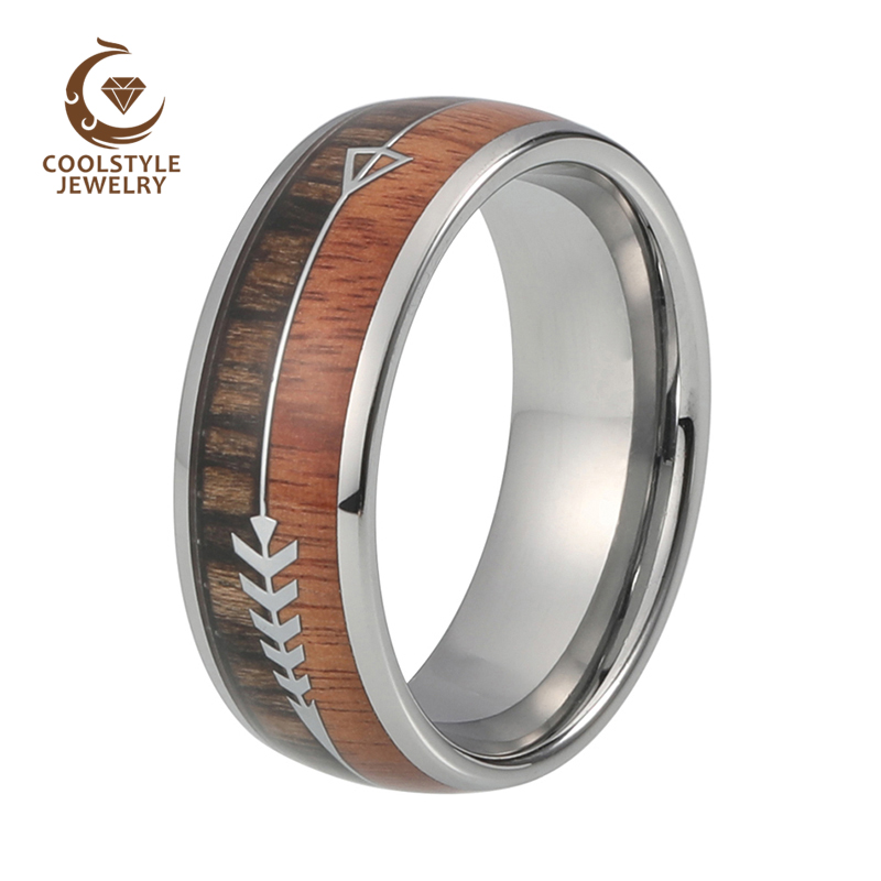 Natural Black Tungsten Dome Ring with Koa Wood And Feathered Arrow Wedding Band Comfort Fit
