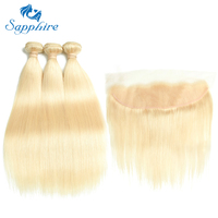 Sapphire Human Hair 613 Blonde Hair 3 Bundles With Lace Closure Brazilian Straight 3 Bundles With