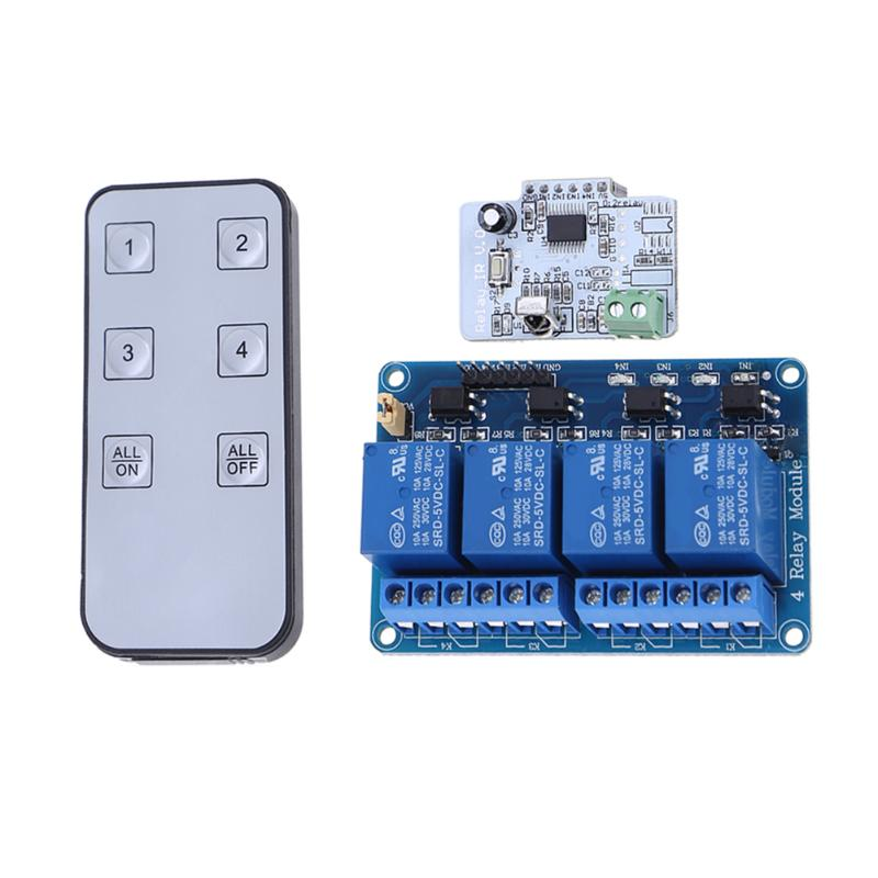 4 CH 6 Button Infrared IR Remote Control Relay Module Control Board Switch Contorller Transmitter for home appliances 5v 2 channel ir relay shield expansion board module for arduino with infrared remote controller