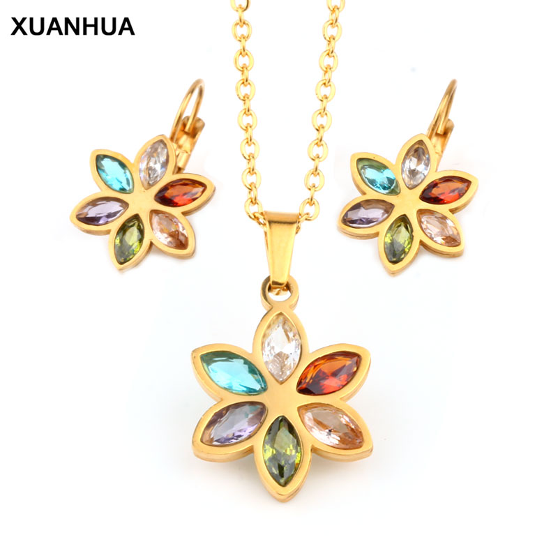 XUANHUA Stainless Steel Wedding Jewelry Sets For Women Necklace Earrings Set Summer Fashion jewellery Accessories Free Shipping