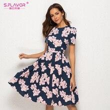 S. flavor vestido com estampa floral, vintage, gola redonda, manga curta, slim, midi, feminino, casual, primavera/verão