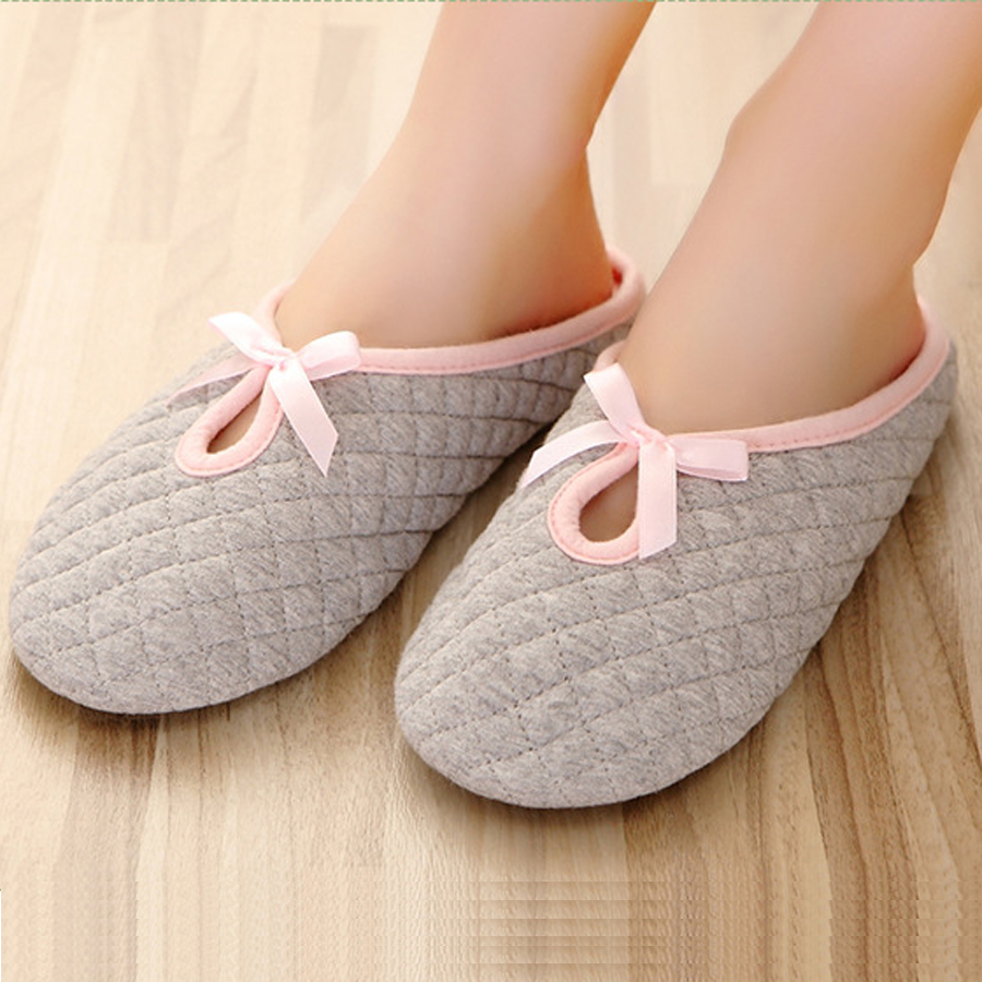 bow home slippers for women cotton padded indoor bedroom warm shoes candy color floor house. Black Bedroom Furniture Sets. Home Design Ideas