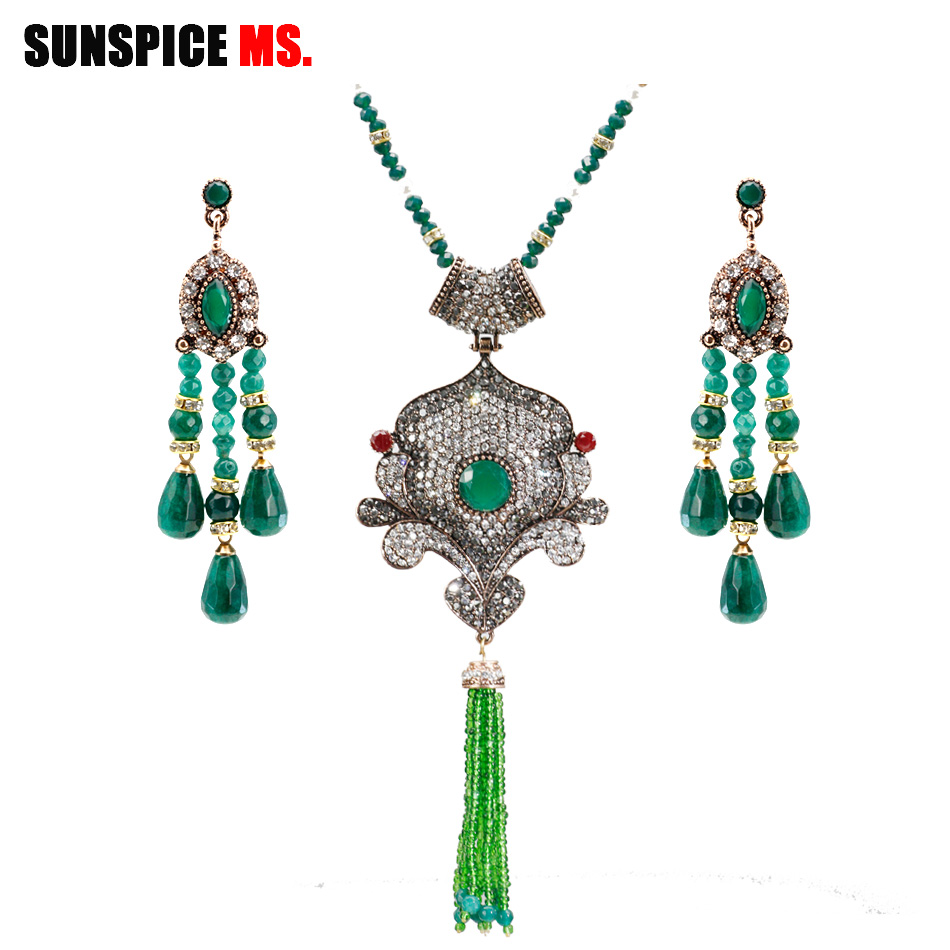 Sunspice Ms Fashion Indian Bead Earring Necklace Sets Rhinestone For Women Wedding Party Antique Gold Color Turkish Jewelry Gift In Jewelry Sets From Jewelry Accessories On Aliexpress