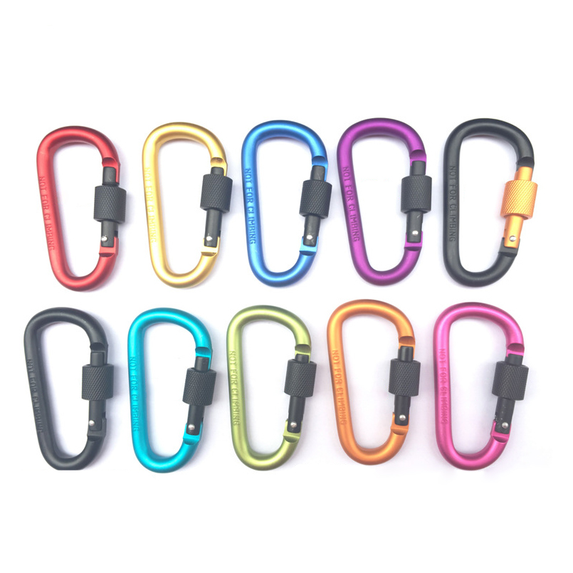 10Pcs 8cm Aluminum Alloy Carabiner D-Ring Key Chain with Lock Outdoor Camping Keyring Snap Hook Travel Kit Climbing Accessories