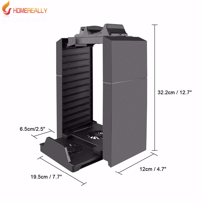 HOMEREALLY Host Vertical Stand & Game Disc Storage Holder with Cooling Fan Controller Charging Station For PlayStation 4 Console
