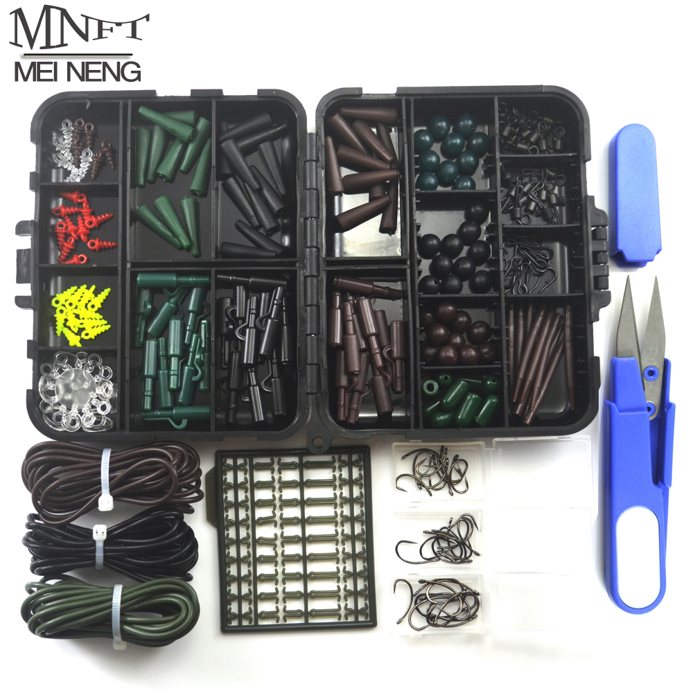 1 Set Assorted Carp Fishing Accessory Line Scissors Stopper Hook Swivel Rubber Sleeve Sinker Lock Hair Rig etc. Terminal Tackle ...