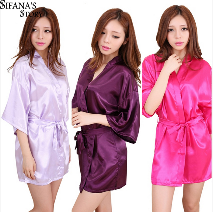 Sexy Silk Satin Night Kimono Robe Short Bathrobe Perfect Wedding Bridesmaid  Bride Robes Solid Dressing Gown For Women e5325b37e17f