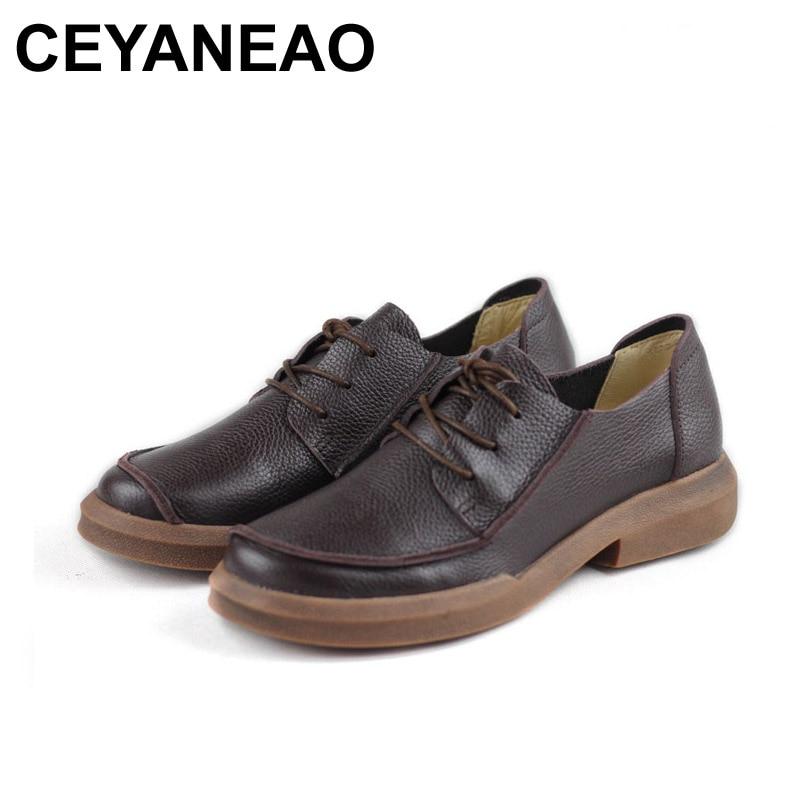 Lace Véritable Femmes Ceyaneao Chaussures Up Plat Richelieus Plates5037 3Coffee Bout 2018 Printemps Dames Rond En Cuir Femme TFc3lK1J