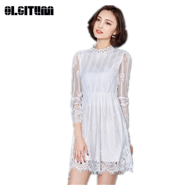 cfd0863e16 White Lace Dress 2018 New Spring Women Elegant Vintage Floral Hollow  Crochet Long Sleeve Stand Collar Tunic Dress DR468