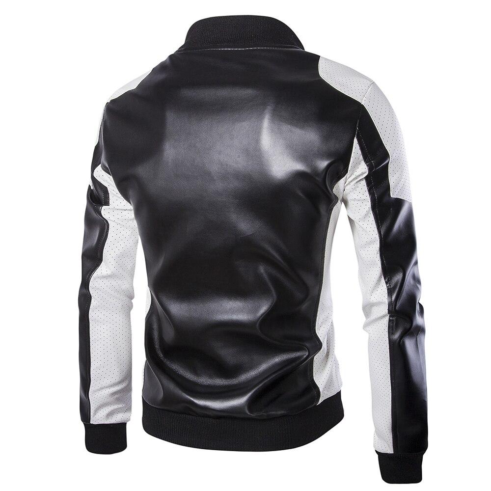 Grande taille hommes vestes en cuir cuir et daim nouveau mâle hip-hop Style moto cuir manteaux taille 4XL vestes - 2