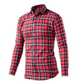 100% Cotton Mens Plaid Shirt 2016 New Mens Slim Long Sleeve Dress Shirts Casual Mens Shirt Chemise Homme Camisa Social