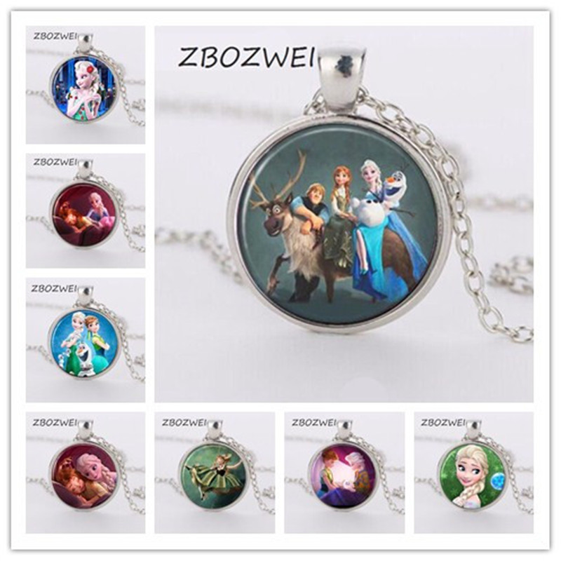 Fast Deliver Zbozwei Elsa Anna Olaf Fever Pendant Cartoon Necklaces Snow Ice Girl Jewelry Round Necklace Women Girls Gift For Children Silver Harmonious Colors