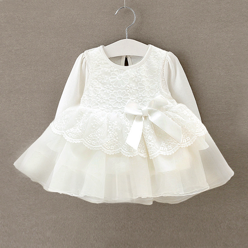 2019 Newborn Baby Girls Dress Toddler Princess White Long Sleeve Cotton Dress Infant Lace Christening Ball Gown Party Baptism