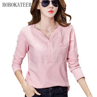 BOBOKATEER Slim White Plus Casual Size Cotton T Shirt Haut Women V Neck T Shirts Women