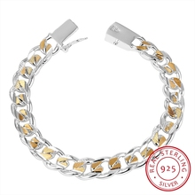 New High Quality Women Men Noble 925 Sterling Silver Bracelet Jewelry Men's 10mm Side Of The Side Buckle Bracelet Pulseiras high quality new lingual finishers the tongue side of the mill dentist lab equipment
