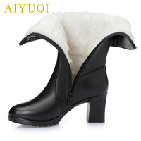 AIYUQI 2018 new genuine leather fashion women's winter boots. warm wool lined motorcycle boots women rhinestone high heel boots
