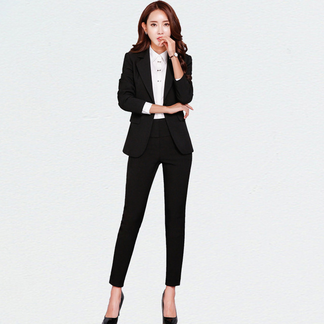 New Blazers Suit Solid Simple Women Pants Suits 2 Two Piece Sets Long Slim Jacket & Pants Female High quality business attire  A