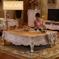 European Style Solid Wood Carved Marble Table Coffe Table Center Table