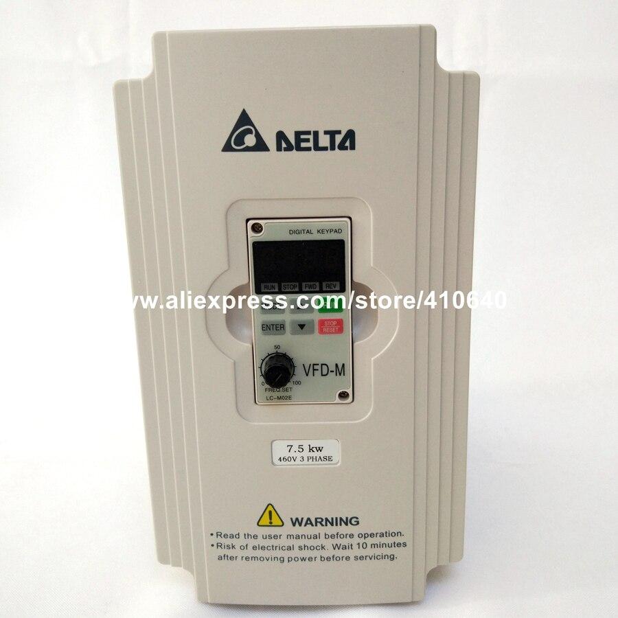 Delta Inversor 7.5KW VFD075M43A 3 Fase 380 V a 460 V Avaliado 18 UM 100% Novo 7500 W Série VFD AC Acionamento Do Motor inversor de Velocidade Variável