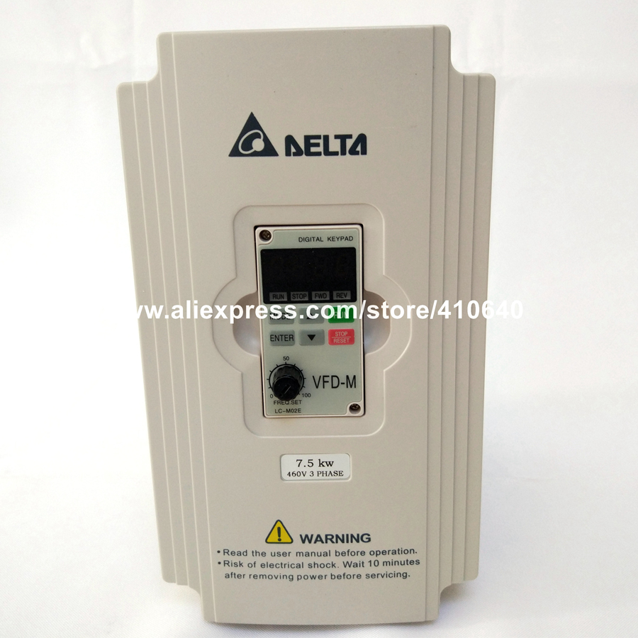 Delta Inverter 7.5KW VFD075M43A 3 Phase 380V to 460V Rated 18 A 100% New 7500W VFD Series Invertor Variable Speed AC Motor Drive ssr 40 da h dc ac solid state relay ssr 40a 3 32v dc 90 480v ac w heat sink