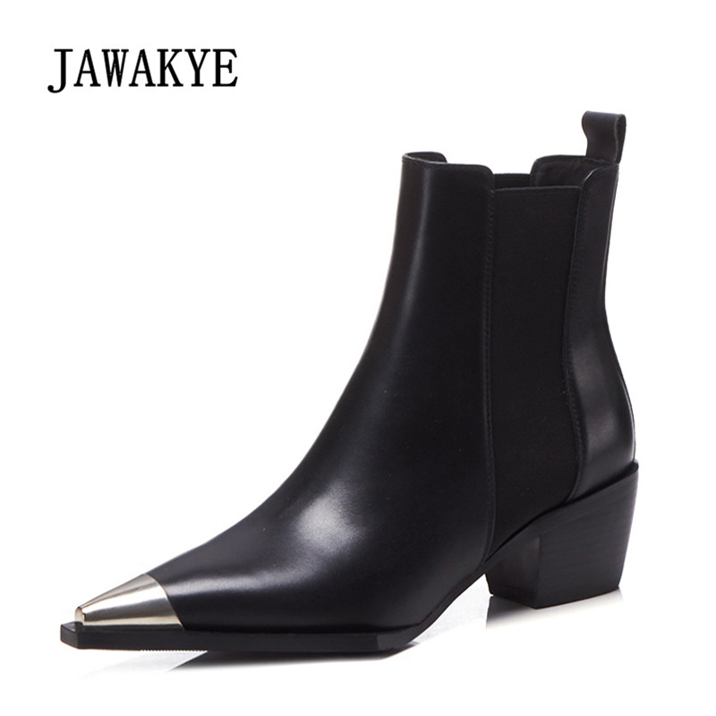 2018 Runway Ankle Boots Woman Metal Pointed Toe Real Leather High Heel Boots Women Fashion Chelsea Boots 2017 newest stars do old boots woman pointed toe black real leather high heel martin boots women fashion chelsea boots