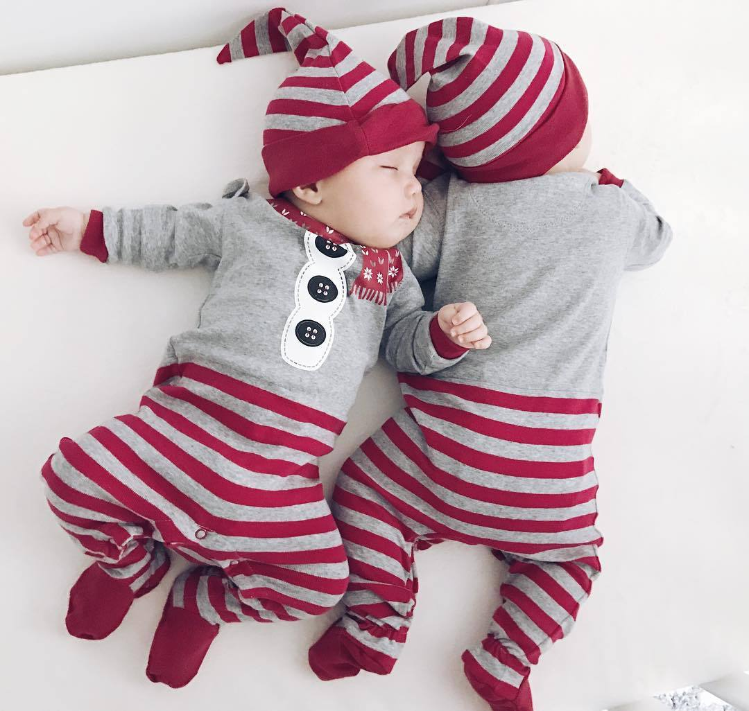 Baby clothes Christmas Rompers Long Sleeve o-neck Jumpsuit+Hat 2Pcs Set Outfit Warm Cute Clothes Newborn Girls Boys Vestidos 3pcs lot unisex top quality baby rompers long sleeve cottom o neck 0 12m novel newborn boys