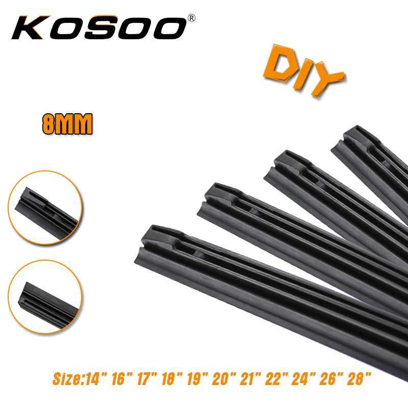 KOSOO 1pc 8MM Diy Auto Car Windscreen Wiper Blade Replacement Strip,3 Section Rubber 14