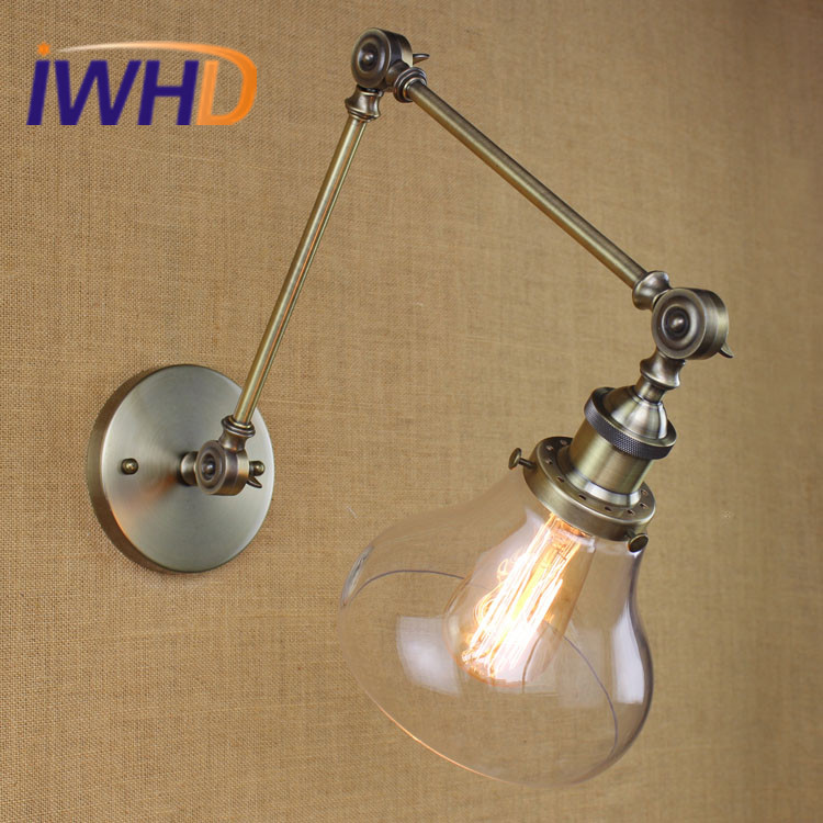 IWHD RH Loft LED Wall Lamp Retro Vintage Industrial Wall Light Iron Rocker Arm Fixtures Home Lighting Applique Murale Luminaire iwhd iron pulley led wall lamp vintage industrial wall light rh retro loft bedside sconce fixtures for home lighting luminaire