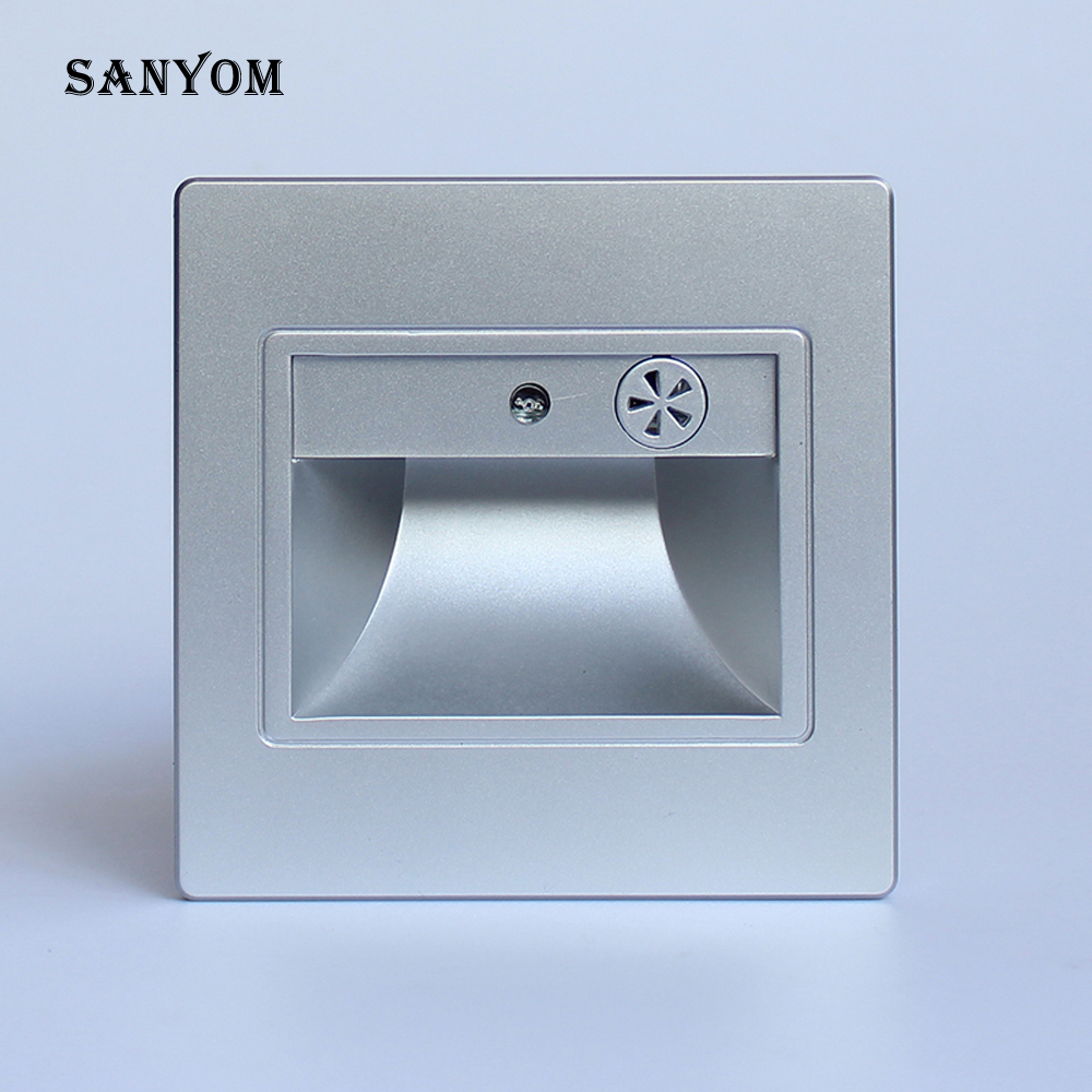 Night When A Voice, Auto On Off, Stair Wall Light  Footlight NEW LED Step Light Ladder Recessed Wall Lamp Acousto-optic Control