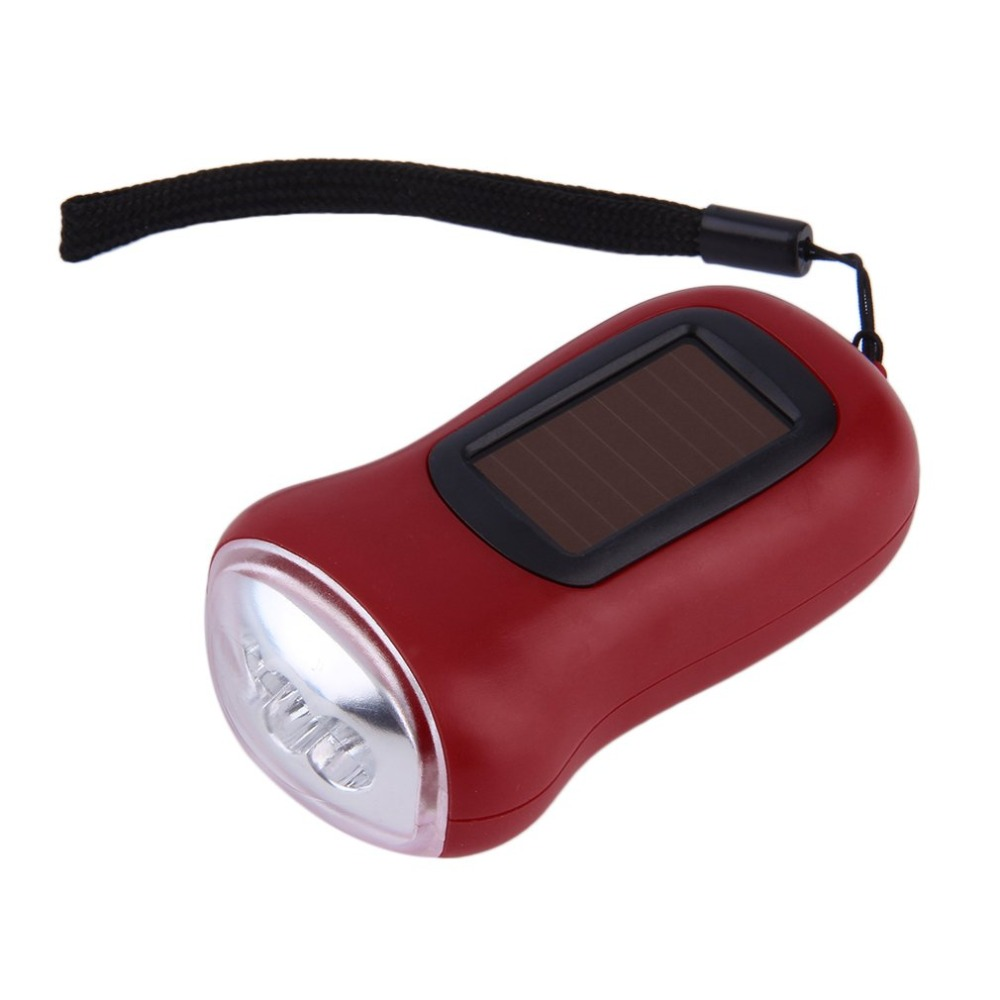 Outdoor Camping Hiking Solar Power Hand Crank Generator 3 LED Flashlights Torch
