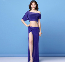 Costume de danse du ventre pour femmes en maille argentée, Sexy, 2 pièces, longue jupe, vêtements dentraînement de danse déquipe orientale