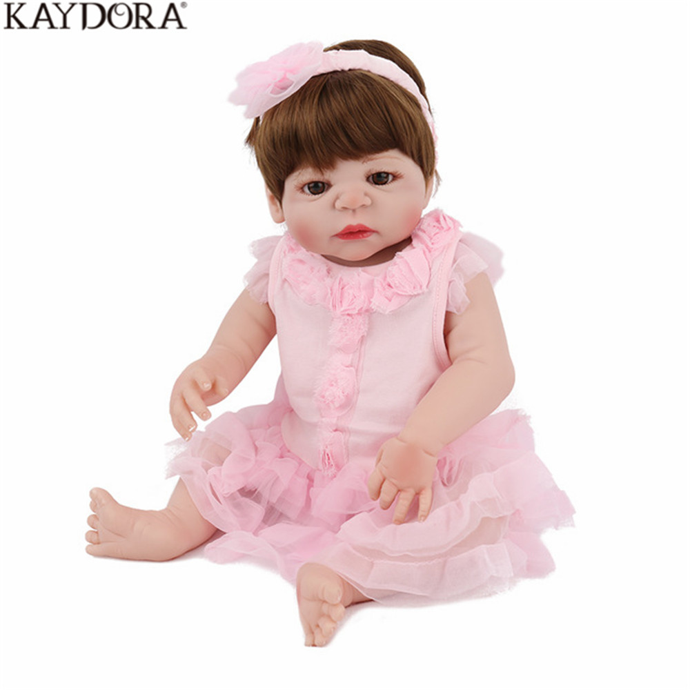 KAYDORA Reborn куклы 22 дюймов полный силиконовые средства ухода за кожей игрушечные лошадки новорожденных принцесса розовая одежда детей подарок