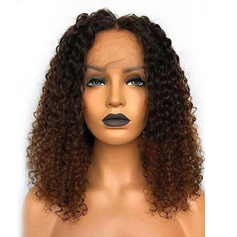 Curly Deep Part Lace Front Human Hair Wigs 150 Brazilian